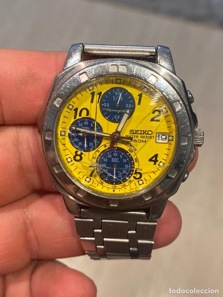 AUTENTICO RELOJ SEIKO CRONOGRAFO 5 BAR ACERO TAMAÑO GRANDE FUNCIONA PERFECTAMENTE (Relojes - Relojes Actuales - Seiko)