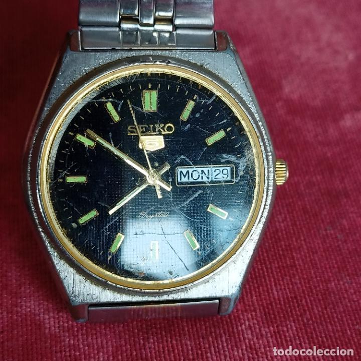 Relojes - Seiko: RELOJ AUTOMATICO SEIKO Nº 5 ESFERA NEGRA funcionando 709-360 - Foto 7 - 272456698