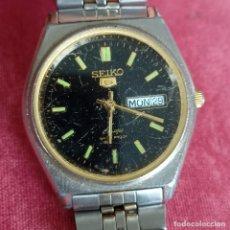 Relojes - Seiko: RELOJ AUTOMATICO SEIKO Nº 5 ESFERA NEGRA FUNCIONANDO 709-360. Lote 272456698