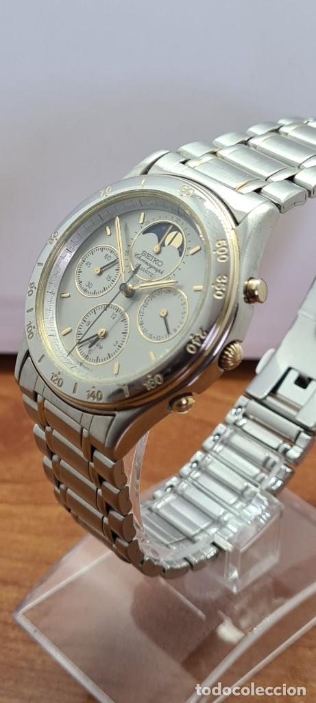 Relojes - Seiko: Reloj caballero (Vintage) SEIKO cronografo, alarma, esfera gris, calendario, fase lunar, correa orig - Foto 2 - 280182783