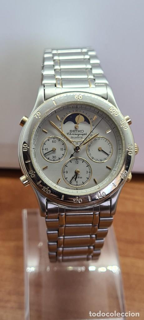 Relojes - Seiko: Reloj caballero (Vintage) SEIKO cronografo, alarma, esfera gris, calendario, fase lunar, correa orig - Foto 3 - 280182783