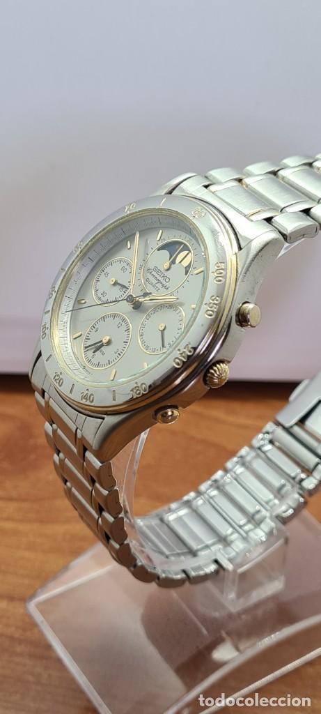 Relojes - Seiko: Reloj caballero (Vintage) SEIKO cronografo, alarma, esfera gris, calendario, fase lunar, correa orig - Foto 4 - 280182783