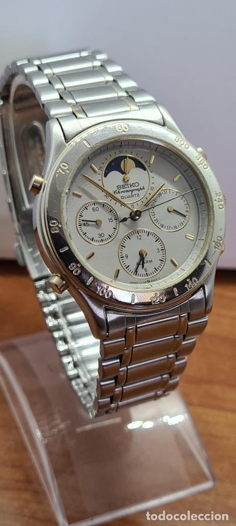 Relojes - Seiko: Reloj caballero (Vintage) SEIKO cronografo, alarma, esfera gris, calendario, fase lunar, correa orig - Foto 5 - 280182783