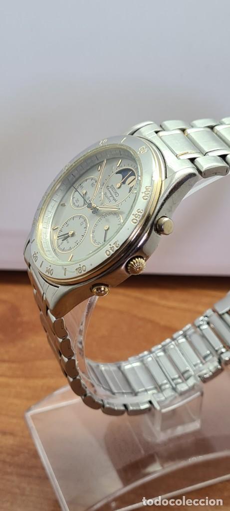 Relojes - Seiko: Reloj caballero (Vintage) SEIKO cronografo, alarma, esfera gris, calendario, fase lunar, correa orig - Foto 6 - 280182783