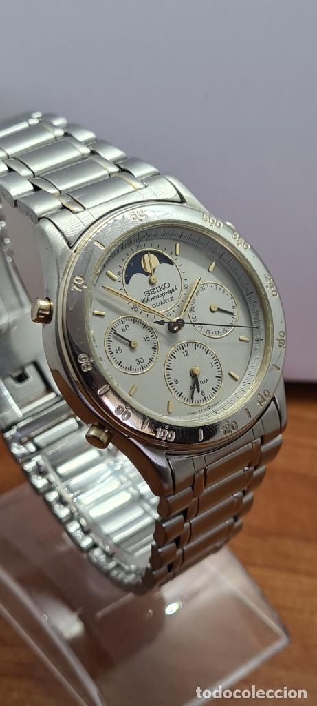 Relojes - Seiko: Reloj caballero (Vintage) SEIKO cronografo, alarma, esfera gris, calendario, fase lunar, correa orig - Foto 7 - 280182783