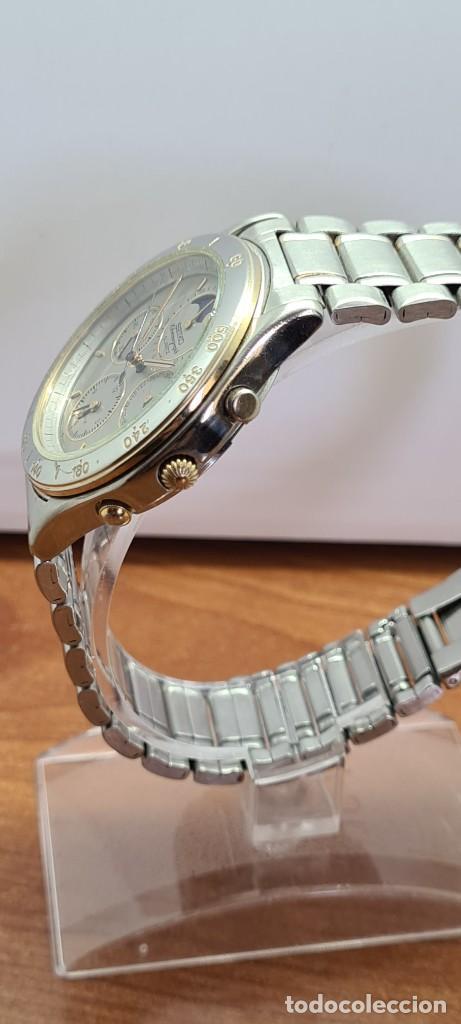 Relojes - Seiko: Reloj caballero (Vintage) SEIKO cronografo, alarma, esfera gris, calendario, fase lunar, correa orig - Foto 8 - 280182783