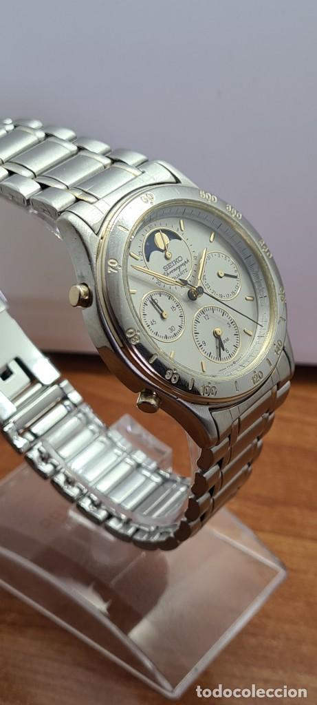Relojes - Seiko: Reloj caballero (Vintage) SEIKO cronografo, alarma, esfera gris, calendario, fase lunar, correa orig - Foto 9 - 280182783