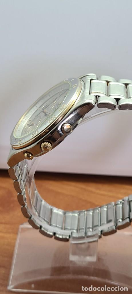 Relojes - Seiko: Reloj caballero (Vintage) SEIKO cronografo, alarma, esfera gris, calendario, fase lunar, correa orig - Foto 10 - 280182783