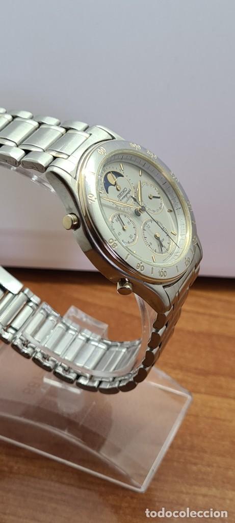 Relojes - Seiko: Reloj caballero (Vintage) SEIKO cronografo, alarma, esfera gris, calendario, fase lunar, correa orig - Foto 11 - 280182783
