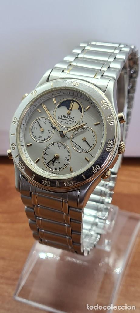 Relojes - Seiko: Reloj caballero (Vintage) SEIKO cronografo, alarma, esfera gris, calendario, fase lunar, correa orig - Foto 12 - 280182783