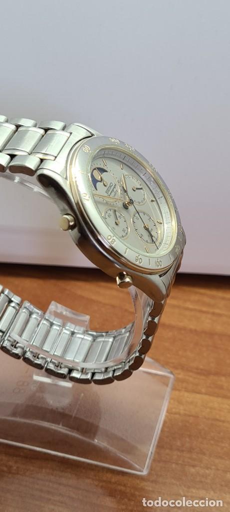 Relojes - Seiko: Reloj caballero (Vintage) SEIKO cronografo, alarma, esfera gris, calendario, fase lunar, correa orig - Foto 13 - 280182783