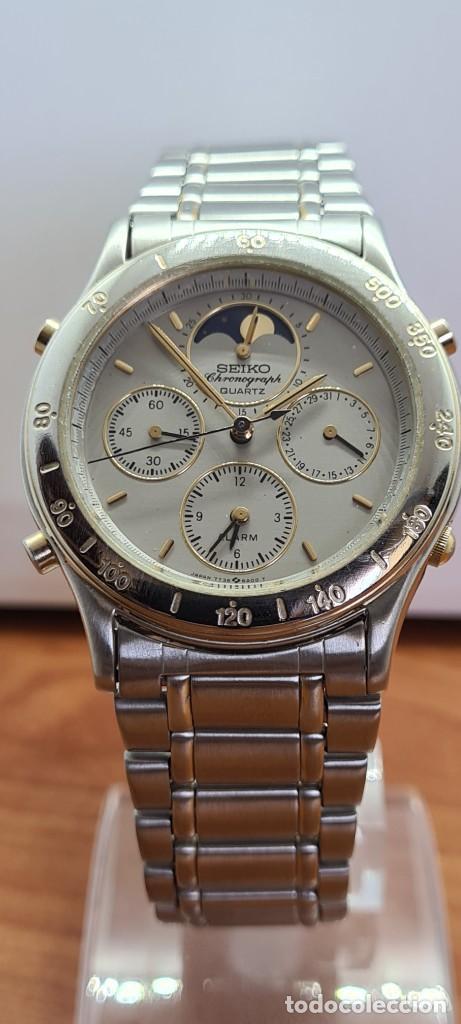 Relojes - Seiko: Reloj caballero (Vintage) SEIKO cronografo, alarma, esfera gris, calendario, fase lunar, correa orig - Foto 15 - 280182783