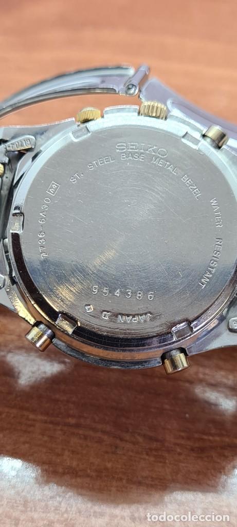 Relojes - Seiko: Reloj caballero (Vintage) SEIKO cronografo, alarma, esfera gris, calendario, fase lunar, correa orig - Foto 16 - 280182783