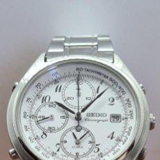 Relógios - Seiko: RELOJ CABALLERO (VINTAGE) SEIKO CUARZO, CRONOGRAFO, ALARMA, ESFERA BLANCA, CALENDARIO, CORREA ORIGIN. Lote 284031993