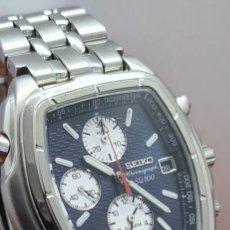 Relógios - Seiko: RELOJ CABALLERO SEIKO CRONOGRAFO, ALARMA, ESFERA NEGRA, CALENDARIO LAS TRES, CORREA ORIGINAL SEIKO. Lote 284089298
