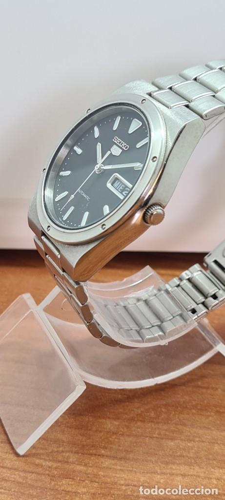 Relojes - Seiko: Reloj caballero (Vintage) SEIKO 5, automático 21 rubis, esfera negra, doble calendario a las tres. - Foto 8 - 284393683