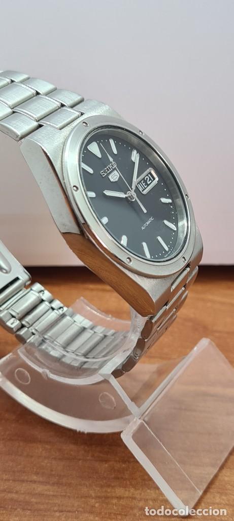 Relojes - Seiko: Reloj caballero (Vintage) SEIKO 5, automático 21 rubis, esfera negra, doble calendario a las tres. - Foto 10 - 284393683