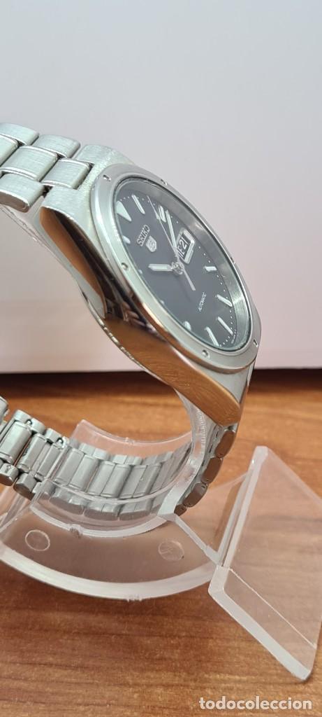 Relojes - Seiko: Reloj caballero (Vintage) SEIKO 5, automático 21 rubis, esfera negra, doble calendario a las tres. - Foto 11 - 284393683