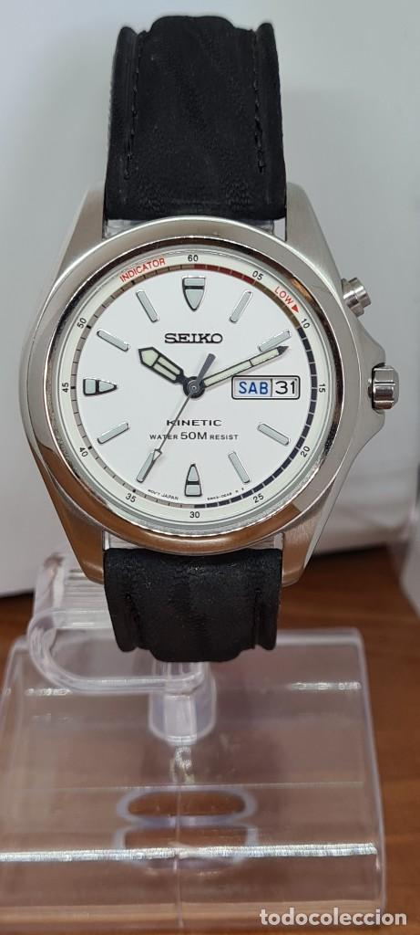 Relojes - Seiko: Reloj (Vintage) SEIKO. Kinetic, automático, esfera blanca, doble calendario tres, correa cuero negra - Foto 15 - 284396488