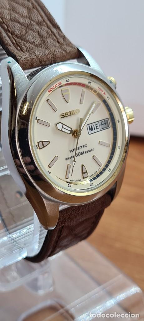 Relojes - Seiko: Reloj (Vintage) SEIKO. Kinetic, automático, esfera blanca, doble calendario tres, correa cuero marró - Foto 6 - 284403608