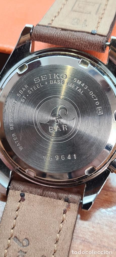 Relojes - Seiko: Reloj (Vintage) SEIKO. Kinetic, automático, esfera blanca, doble calendario tres, correa cuero marró - Foto 10 - 284403608