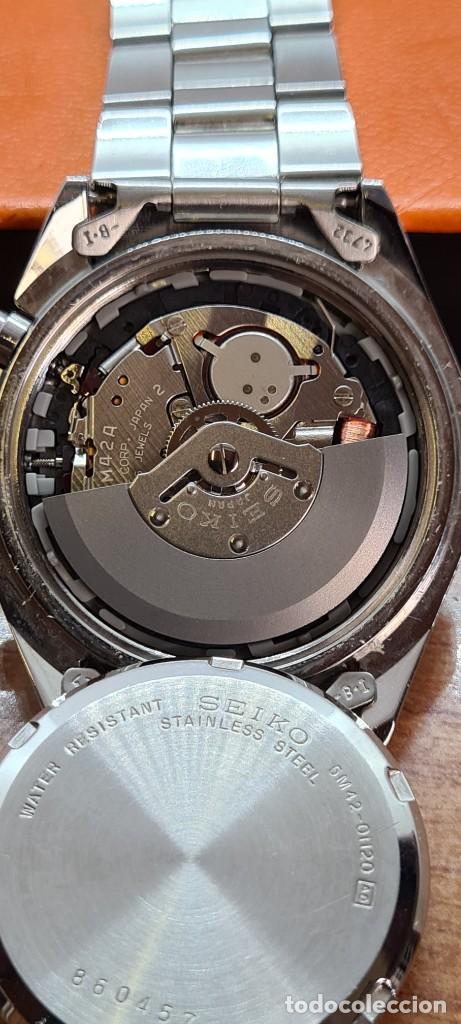 Relojes - Seiko: Reloj (Vintage) SEIKO. Kinetic, automático, esfera azul, calendario tres, correa de acero original - Foto 11 - 284409368
