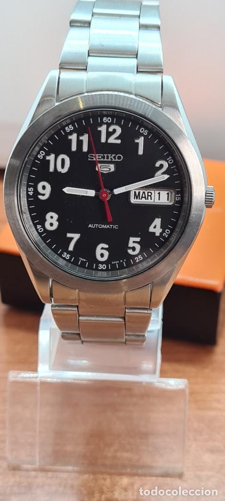 RELOJ (VINTAGE) SEIKO 5, AUTOMÁTICO 21 RUBIS, ESFERA NEGRA, DOBLE CALENDARIO TRES, CORREA DE ACERO (Relojes - Relojes Actuales - Seiko)