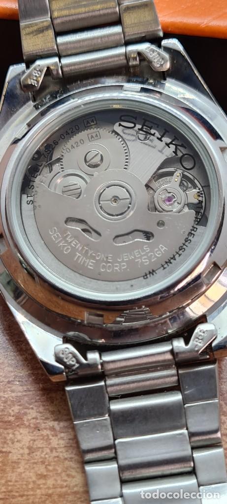 Relojes - Seiko: Reloj (Vintage) SEIKO 5, automático 21 rubis, esfera negra, doble calendario tres, correa de acero - Foto 10 - 284415463