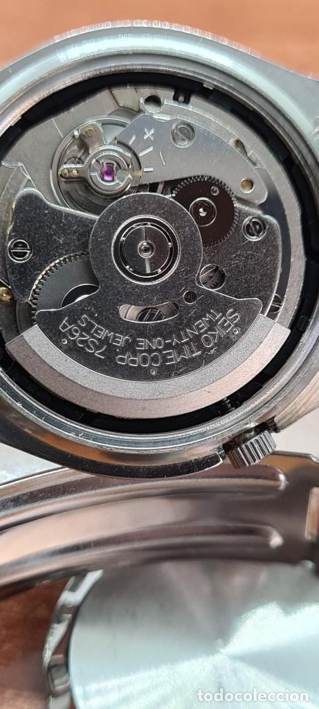 Relojes - Seiko: Reloj (Vintage) SEIKO 5, automático 21 rubis, esfera gris, doble calendario tres, correa acero Seiko - Foto 11 - 284416713
