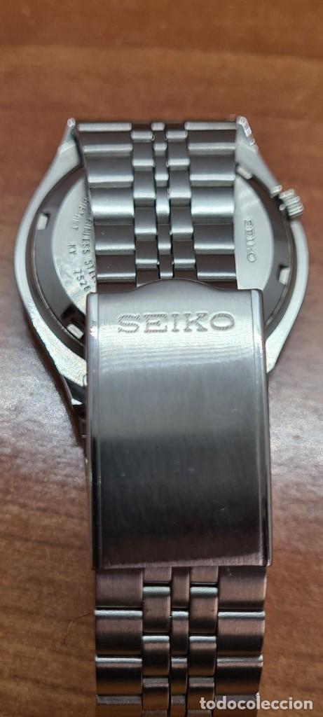 Relojes - Seiko: Reloj (Vintage) SEIKO 5, automático 21 rubis, esfera gris, doble calendario tres, correa acero Seiko - Foto 14 - 284416713