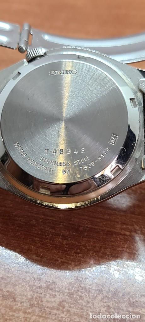 Relojes - Seiko: Reloj (Vintage) SEIKO 5, automático 21 rubis, esfera gris, doble calendario tres, correa acero Seiko - Foto 16 - 284416713