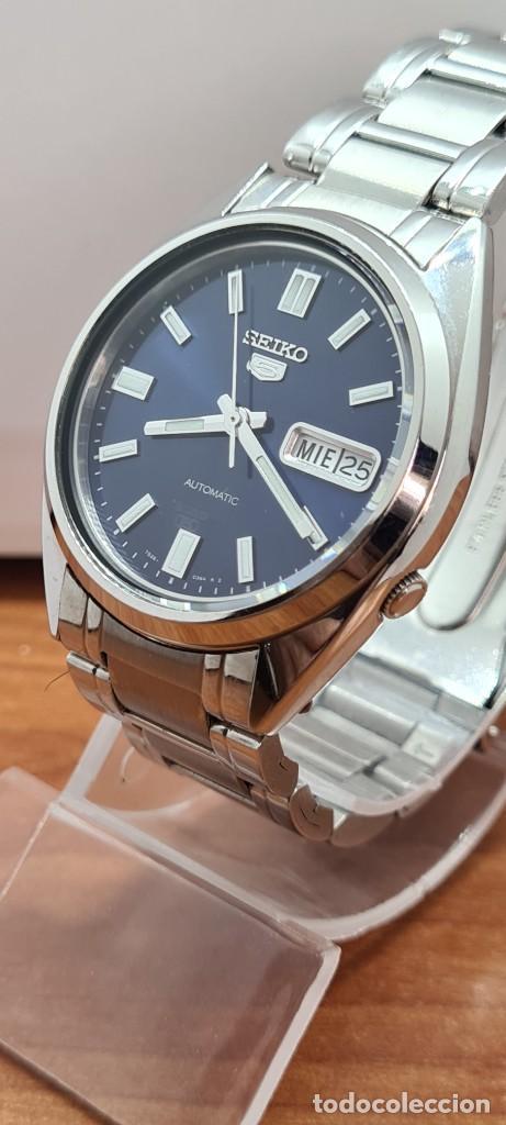 Relojes - Seiko: Reloj (Vintage) SEIKO 5, automático 21 rubis, esfera azul, doble calendario tres, correa acero Seiko - Foto 5 - 284417078