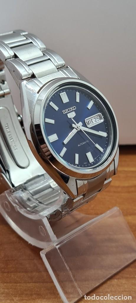 Relojes - Seiko: Reloj (Vintage) SEIKO 5, automático 21 rubis, esfera azul, doble calendario tres, correa acero Seiko - Foto 7 - 284417078