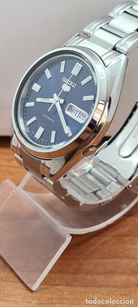 Relojes - Seiko: Reloj (Vintage) SEIKO 5, automático 21 rubis, esfera azul, doble calendario tres, correa acero Seiko - Foto 8 - 284417078