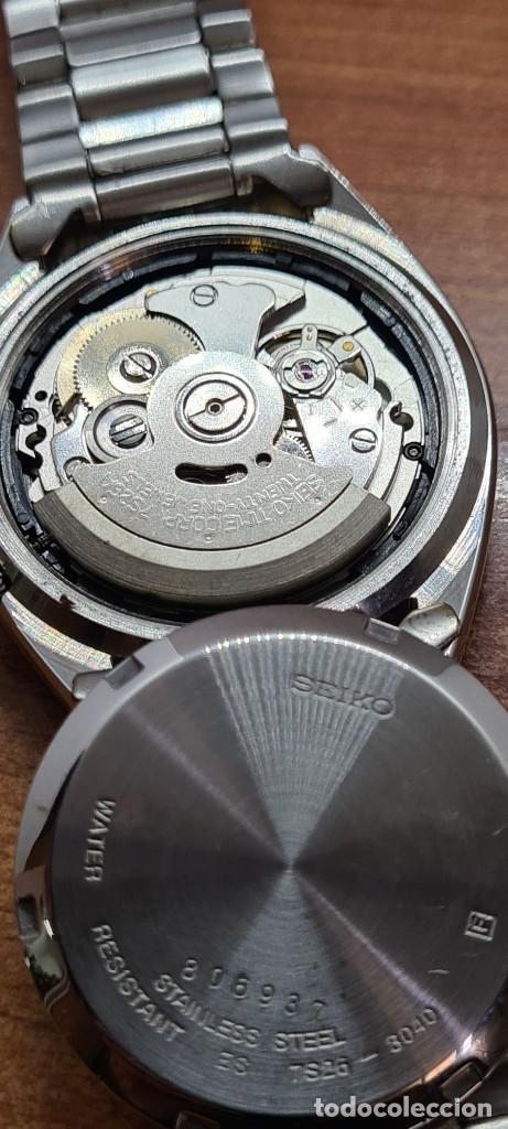 Relojes - Seiko: Reloj (Vintage) SEIKO 5, automático 21 rubis, esfera azul, doble calendario tres, correa acero Seiko - Foto 10 - 284417078