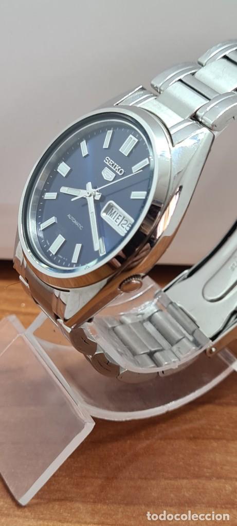 Relojes - Seiko: Reloj (Vintage) SEIKO 5, automático 21 rubis, esfera azul, doble calendario tres, correa acero Seiko - Foto 11 - 284417078