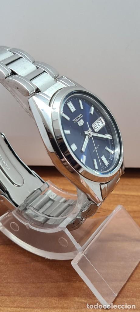 Relojes - Seiko: Reloj (Vintage) SEIKO 5, automático 21 rubis, esfera azul, doble calendario tres, correa acero Seiko - Foto 12 - 284417078