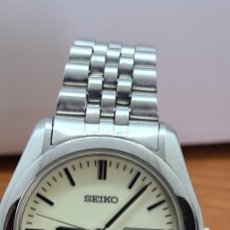 Relojes - Seiko: RELOJ (VINTAGE) SEIKO SQ 50 CUARZO ACERO ESFERA MARFIL, DOBLE CALENDARIO TRES, CORREA ORIGINAL SEIKO. Lote 291186068