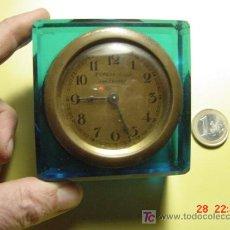 Relojes de carga manual: 4286 SANTANDER - PRECIOSO RELOJ SOBREMESA EN CRISTAL AZUL - AÑOS 1900 -COSAS&CURIOSAS. Lote 27588718