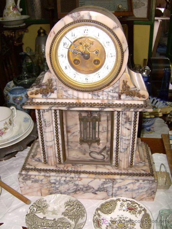 RELOJ FRANCES DE MARMOL BLANCO NAPOLEON III ** CON PENDULO DE MERCURIO** (Relojes - Sobremesa Carga Manual)