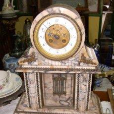 Relojes de carga manual: RELOJ FRANCES DE MARMOL BLANCO NAPOLEON III ** CON PENDULO DE MERCURIO**. Lote 49826234