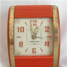 Relojes de carga manual: ORIGINAL RELOJ DESPERTADOR CON PERSIANA WESTCLOX ART DECO. Lote 24859686