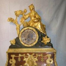 Relojes de carga manual: RELOJ FRANCES DE BRONCE DE MITAD S.XIX DORADO AL MERCURIO Y PAVONADO. Lote 27099742