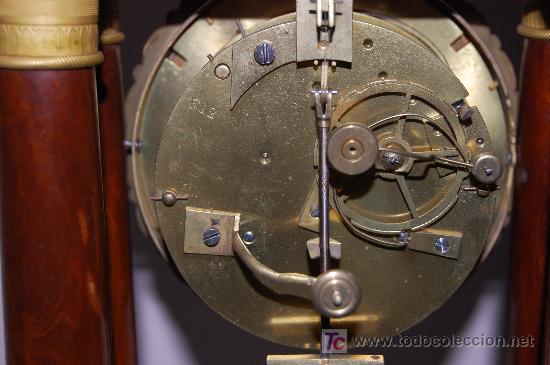 Relojes de carga manual: RELOJ ESTILO IMPERIO DE PALMA DE CAOBA Y CAOBA CON APLIQUES DE BRONCE Y ORO FINO - Foto 12 - 27019221