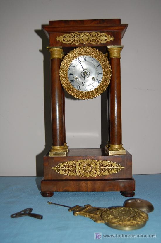 Relojes de carga manual: RELOJ ESTILO IMPERIO DE PALMA DE CAOBA Y CAOBA CON APLIQUES DE BRONCE Y ORO FINO - Foto 5 - 27019221