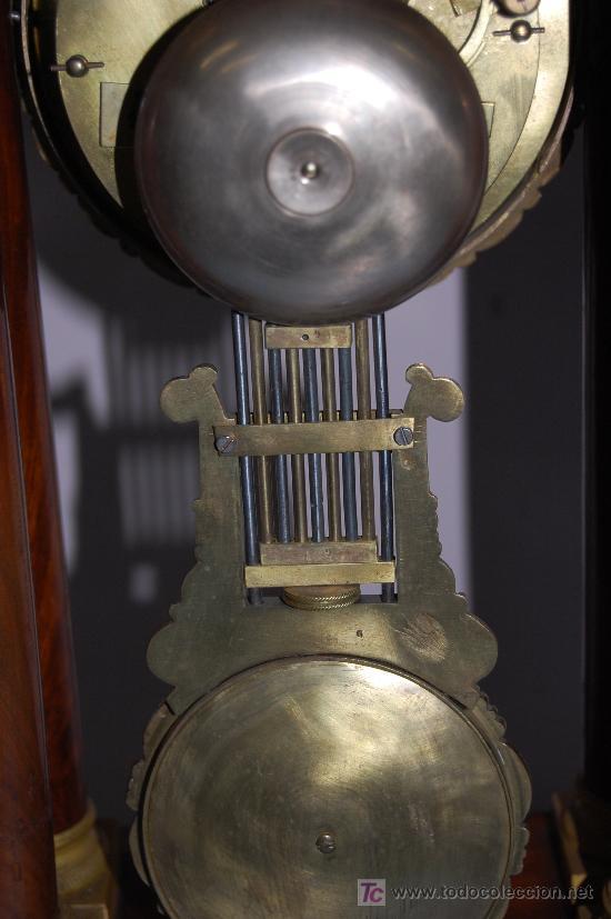 Relojes de carga manual: RELOJ ESTILO IMPERIO DE PALMA DE CAOBA Y CAOBA CON APLIQUES DE BRONCE Y ORO FINO - Foto 13 - 27019221