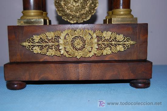Relojes de carga manual: RELOJ ESTILO IMPERIO DE PALMA DE CAOBA Y CAOBA CON APLIQUES DE BRONCE Y ORO FINO - Foto 8 - 27019221