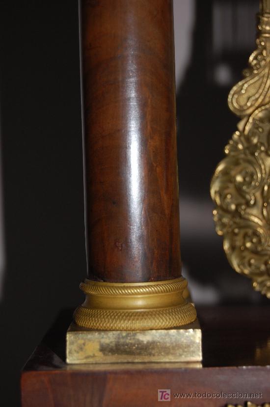 Relojes de carga manual: RELOJ ESTILO IMPERIO DE PALMA DE CAOBA Y CAOBA CON APLIQUES DE BRONCE Y ORO FINO - Foto 6 - 27019221