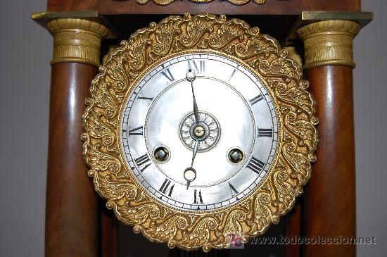Relojes de carga manual: RELOJ ESTILO IMPERIO DE PALMA DE CAOBA Y CAOBA CON APLIQUES DE BRONCE Y ORO FINO - Foto 9 - 27019221