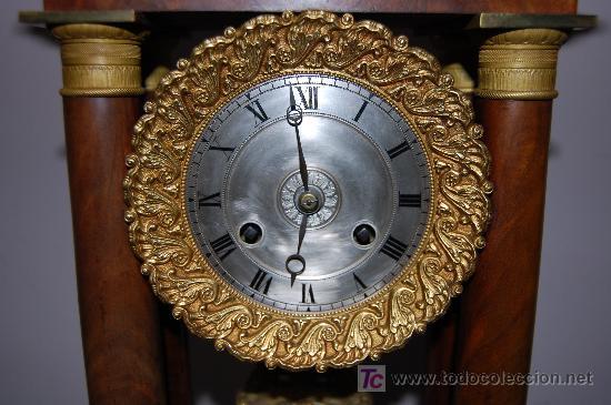 Relojes de carga manual: RELOJ ESTILO IMPERIO DE PALMA DE CAOBA Y CAOBA CON APLIQUES DE BRONCE Y ORO FINO - Foto 11 - 27019221